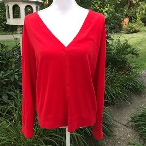 NWT ann Taylor loft red v neck cardigan sweater xl